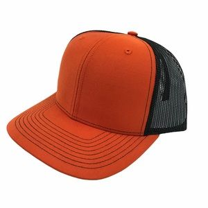 ORANGE & Black Mesh Baseball Cap Trucker Hat